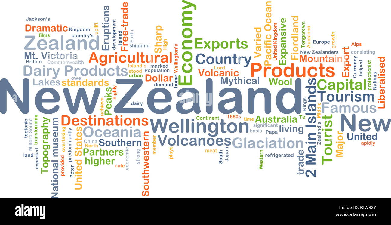 Background concept wordcloud illustration of New Zealand - Stock Image