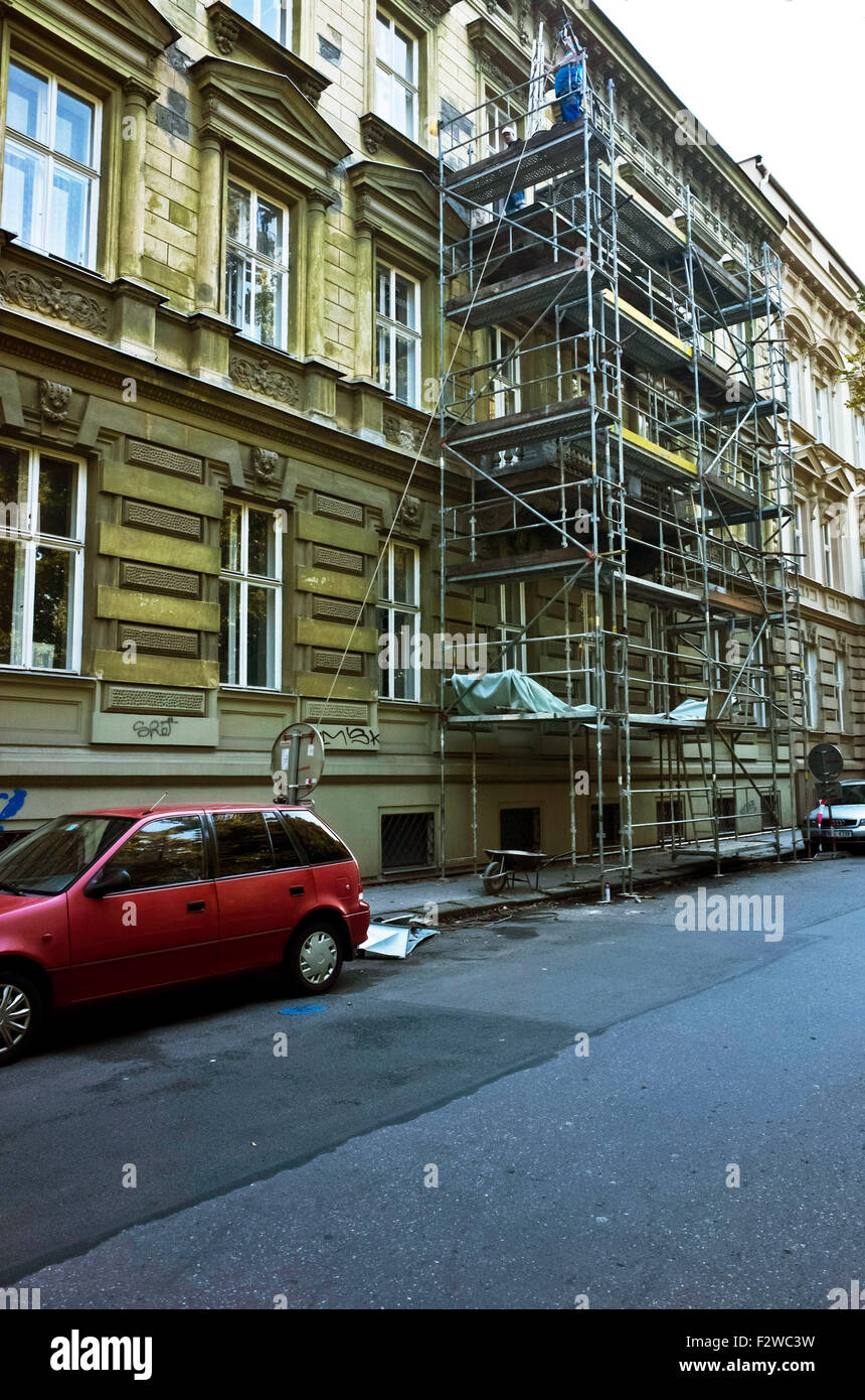 scaffoldings for reconstruction work in a building - Stock Image