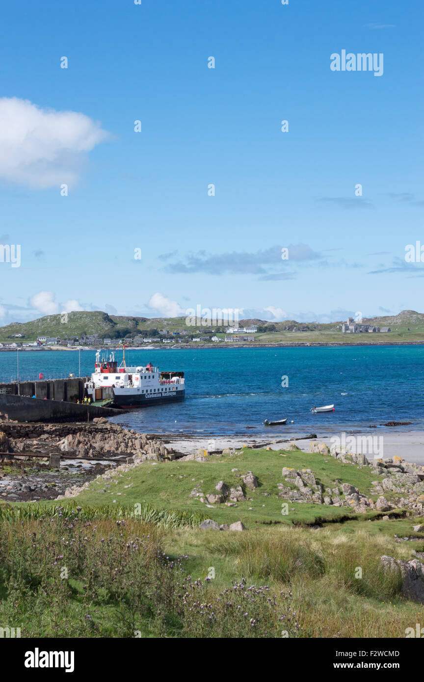 Ferry at Fionnphort, Mull looking out over the Sound of Mull towards Iona Abbey. - Stock Image