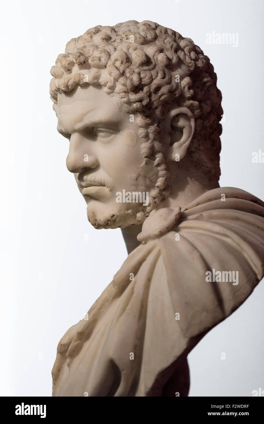 Berlin. Germany. Portrait of Roman Emperor Caracalla , 212-217 AD from Rome, Italy. Altes Museum. - Stock Image