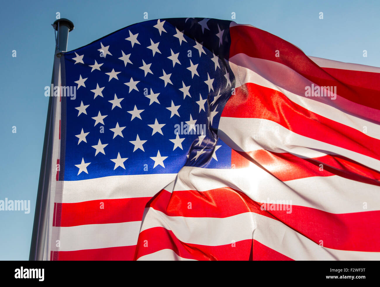 15.04.2015, Berlin, Berlin, Germany - Flag of the United States of America waving in the wind. 0MK150415D082CAROEX.JPG - Stock Image