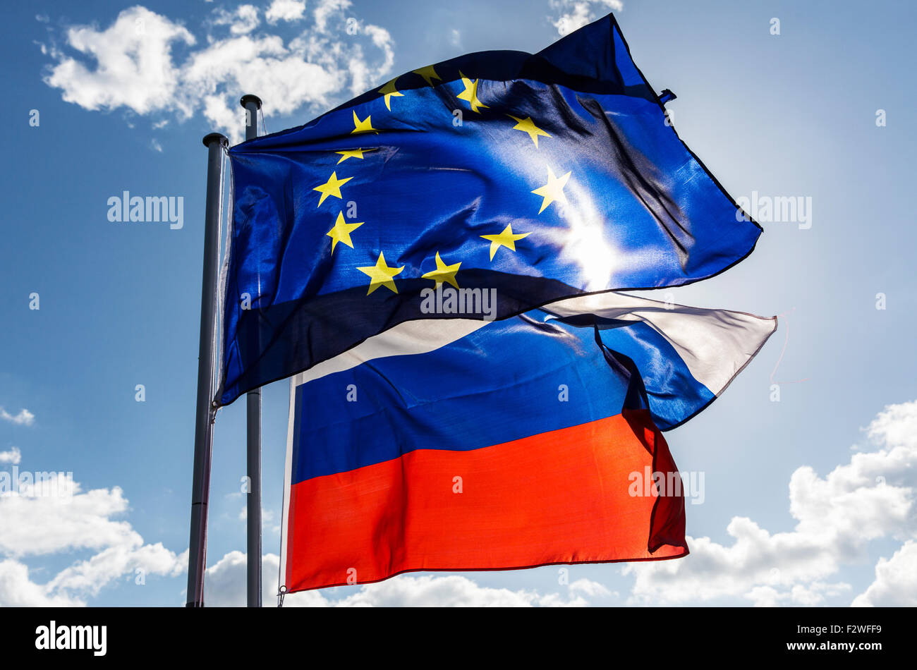 18.04.2015, Berlin, Berlin, Germany - European flag and flag of the Russian Federation waving in the wind. - Stock Image