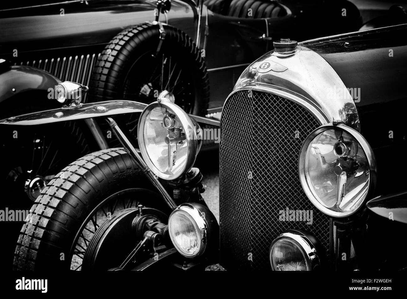 1926 Bentley at Bicester Heritage Centre. Oxfordshire, England. Black and white - Stock Image