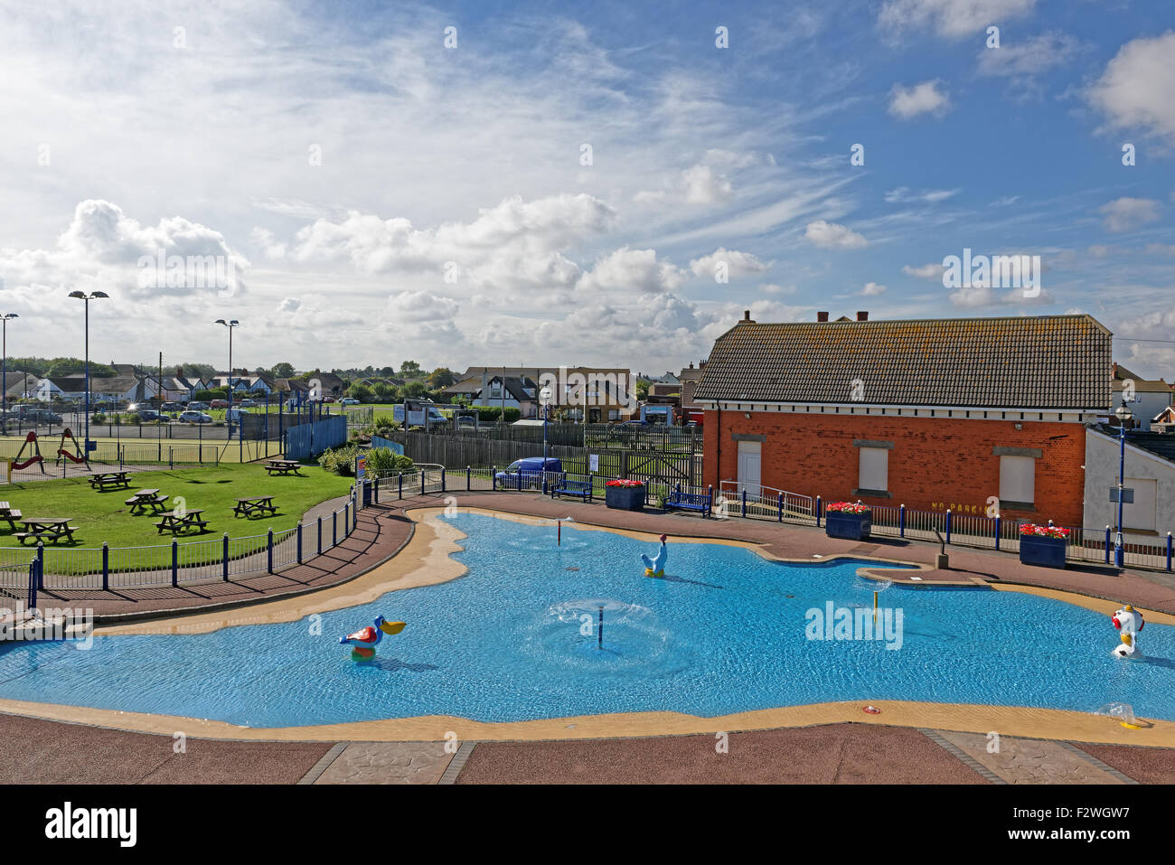 Childrens' paddling pool in Sutton on Sea,Lincolnshire,UK Stock Photo