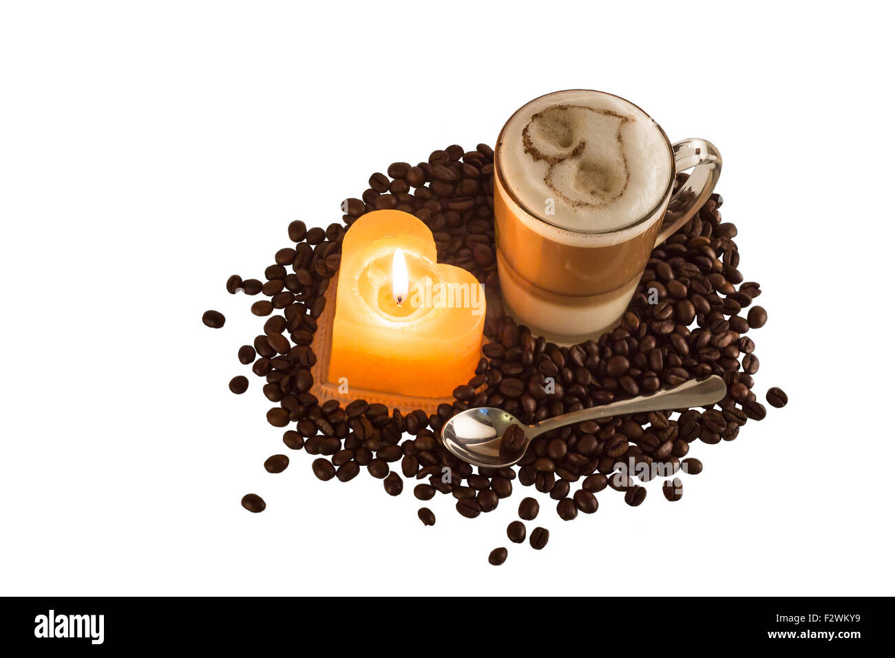 The morning warming heart of warmly fragrant coffee. - Stock Image