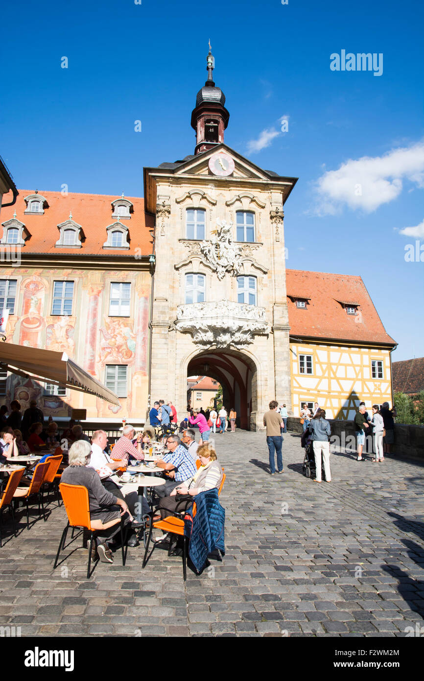BAMBERG, GERMANY - SEPTEMBER 4: Tourists at Altes Rathaus in Bamberg, Germany on September 4, 2015. - Stock Image