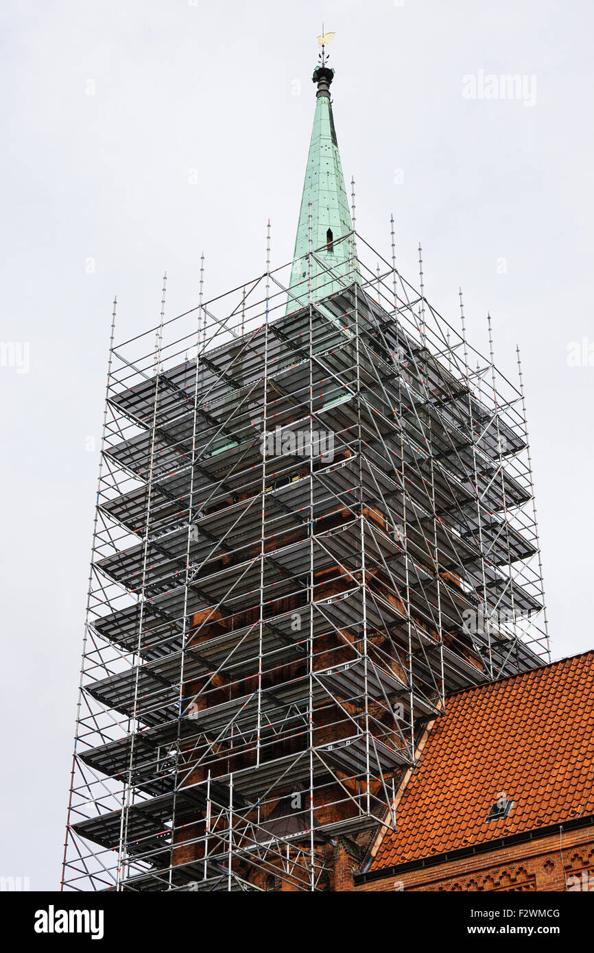 church tower with scaffolding - Stock Image