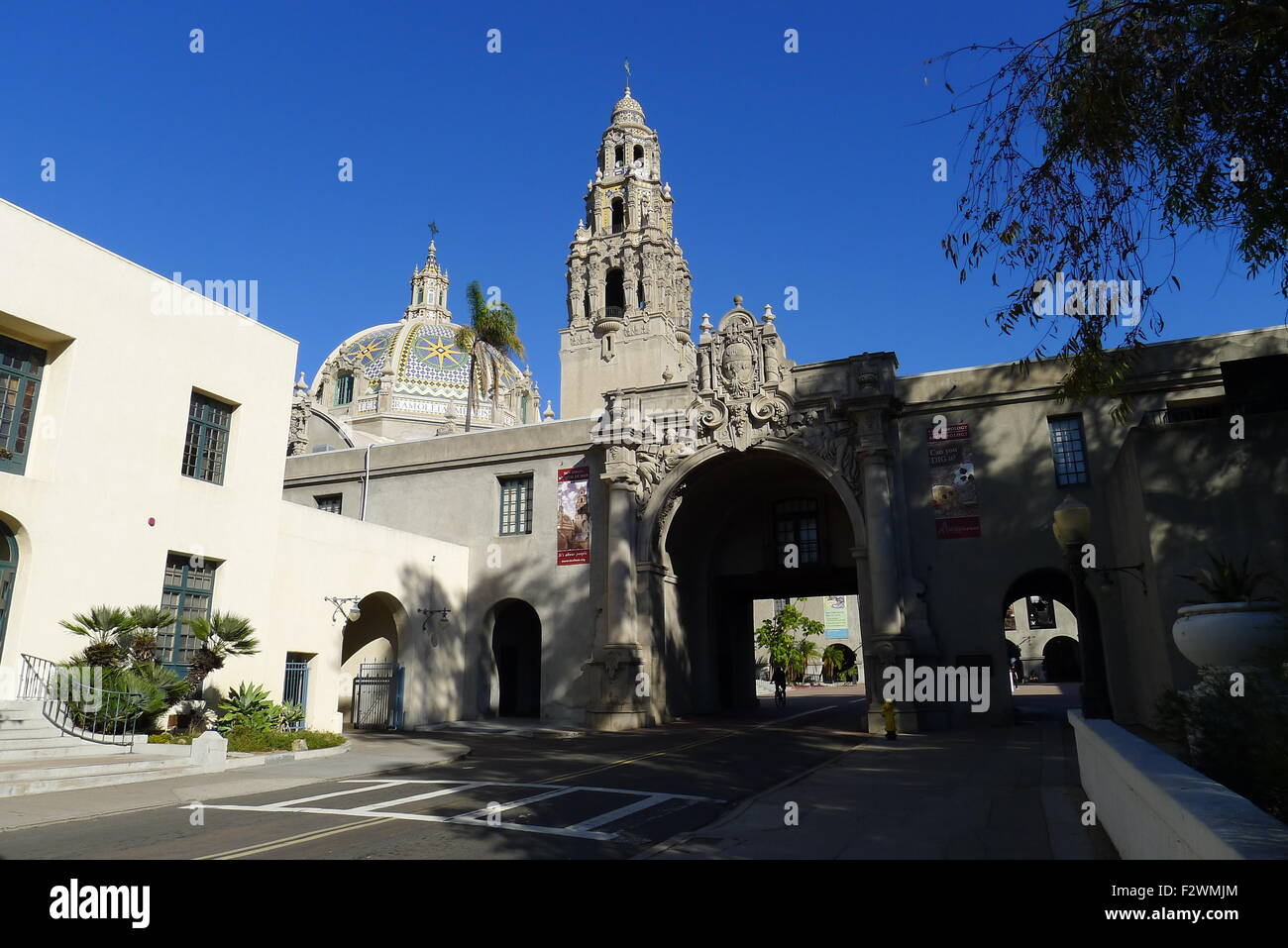 Entrance to the Plaza de California - California Quadrangle - Balboa Park - San Diego - Stock Image