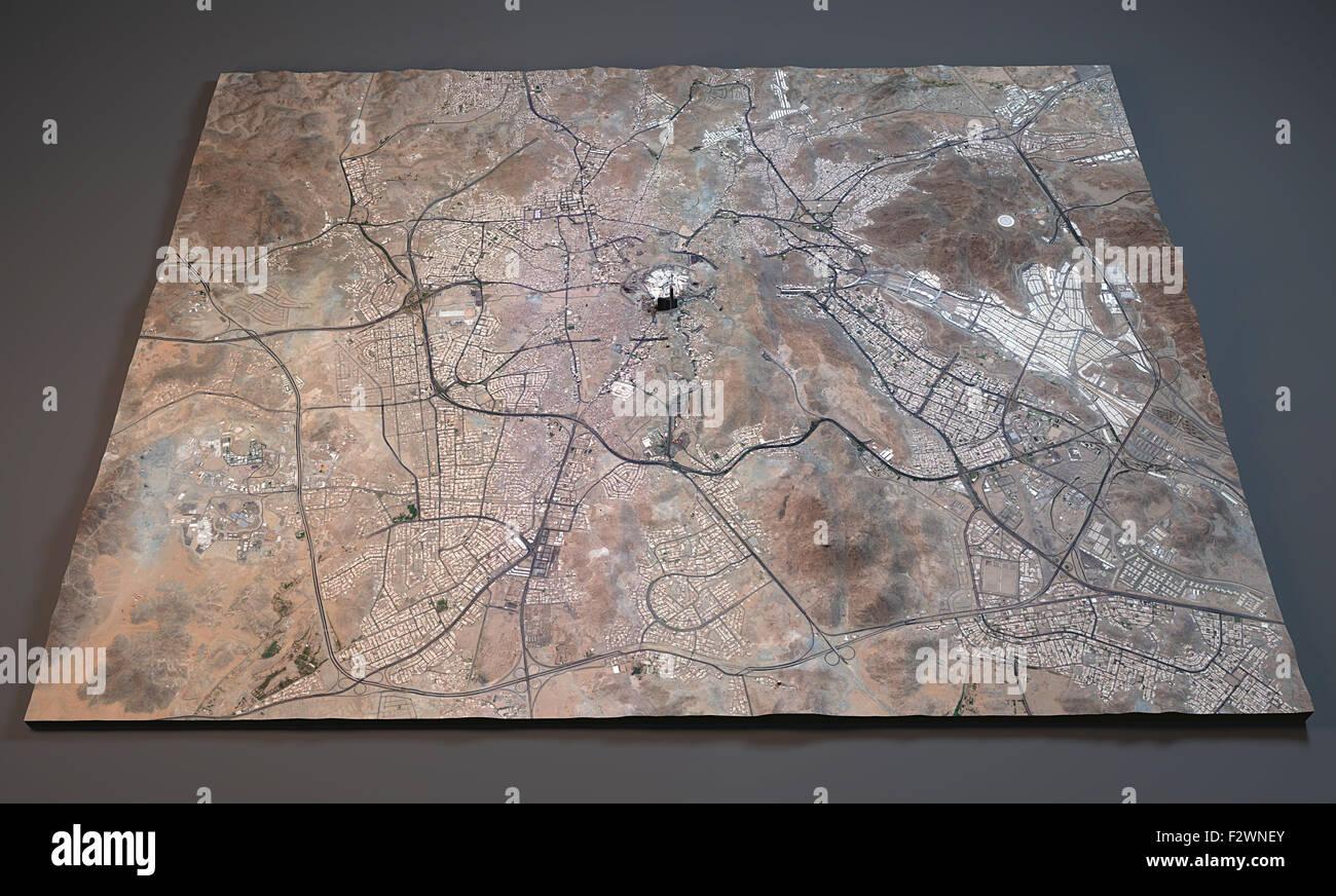 Map of Mecca satellite view map, 3d, Saudi Arabia Stock
