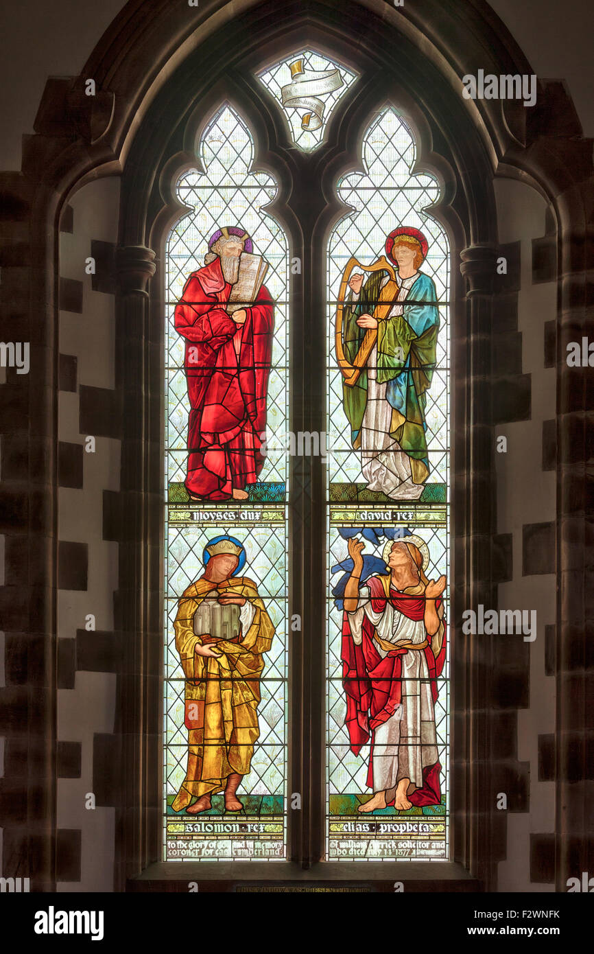 Stained glass window by Sir Edward Burne-Jones and made by the William Morris studio in St Martins church, Brampton, Stock Photo