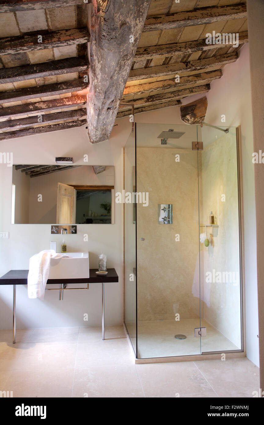 Modern Glass Shower Cabinet And Washbasin In Italian Country Bathroom With Rustic Wooden Beamed Ceiling