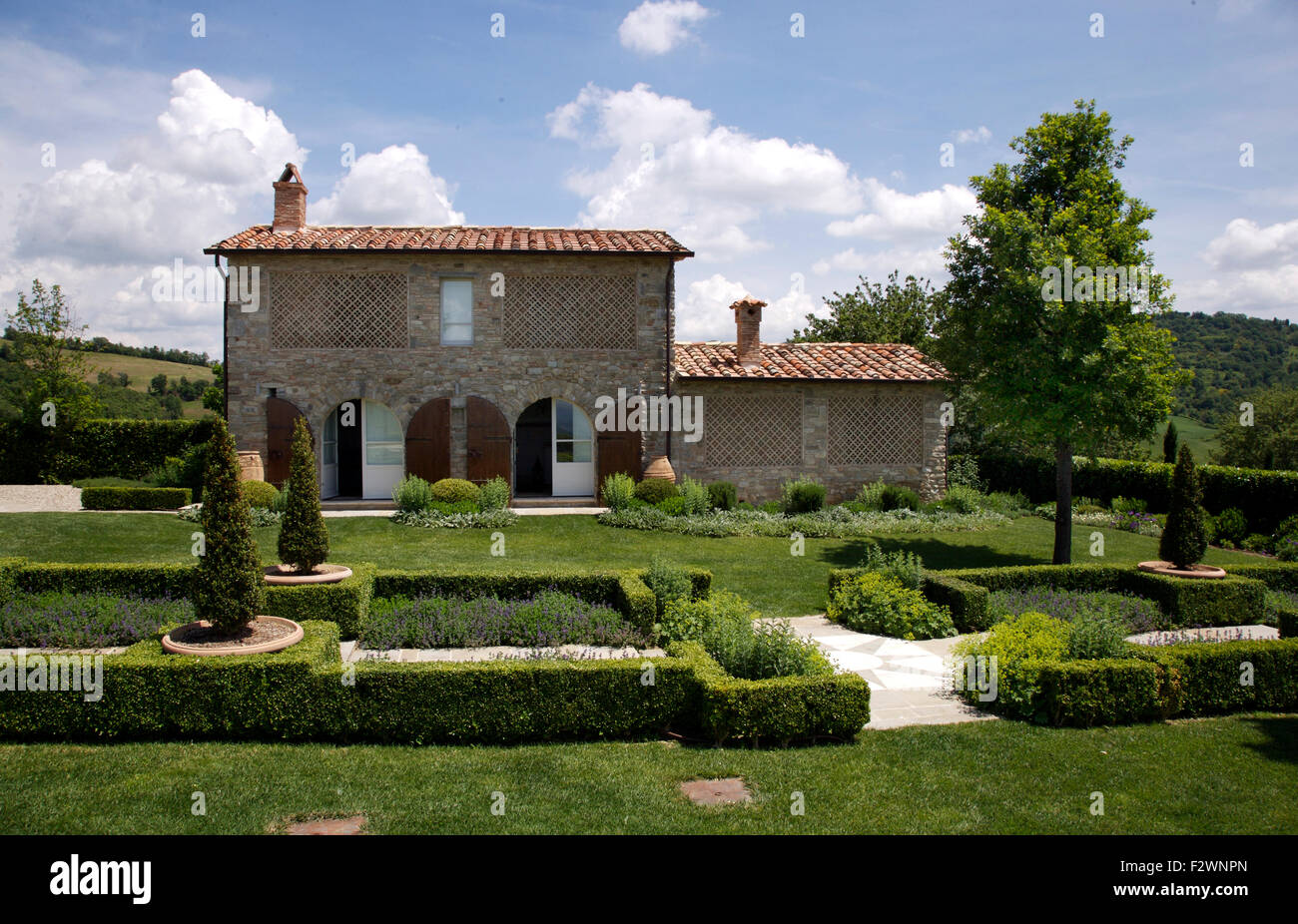 Low Clipped Hedging In Formal Parterre Garden Front Of Italian Country Villa