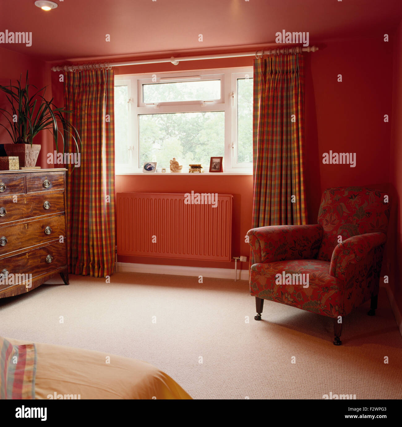 Checked Curtains On Window Above Painted Radiator In Red Nineties Stock Photo Alamy