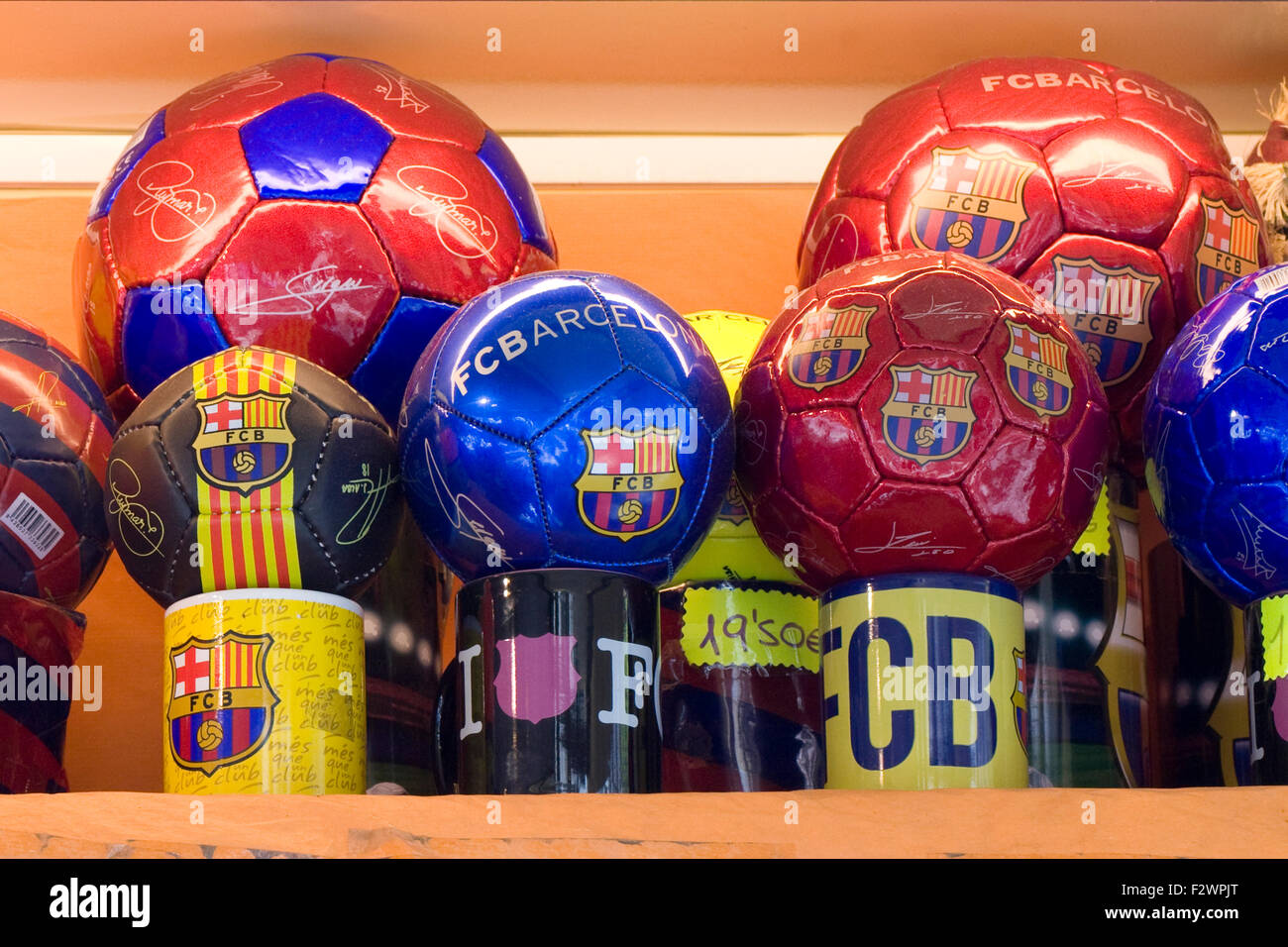 Novelty Stalls displaying Traditional novelty Items in Barcelona - Stock Image