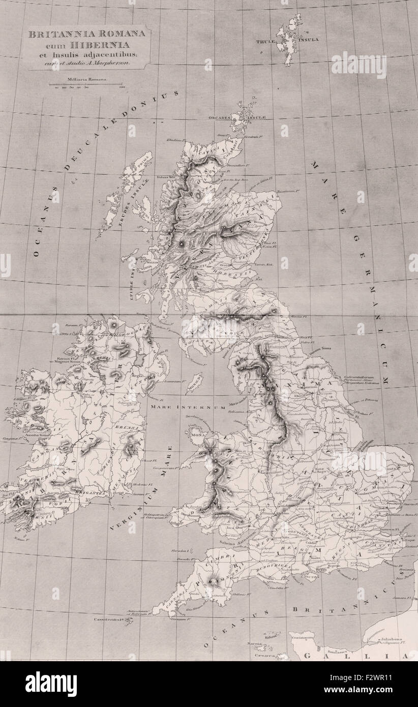 Map of Roman Britain with Ireland and adjacent islands. Map originally published in London, 1818. - Stock Image