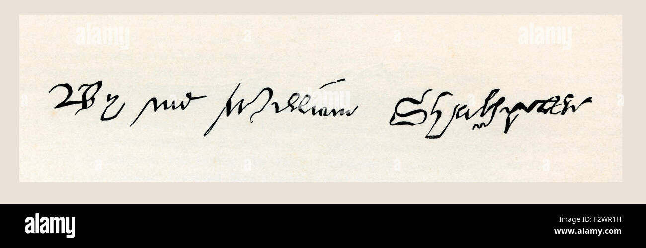 Signature of William Shakespeare, 1564 - 1616.   English poet, playwright, dramatist and actor. Stock Photo