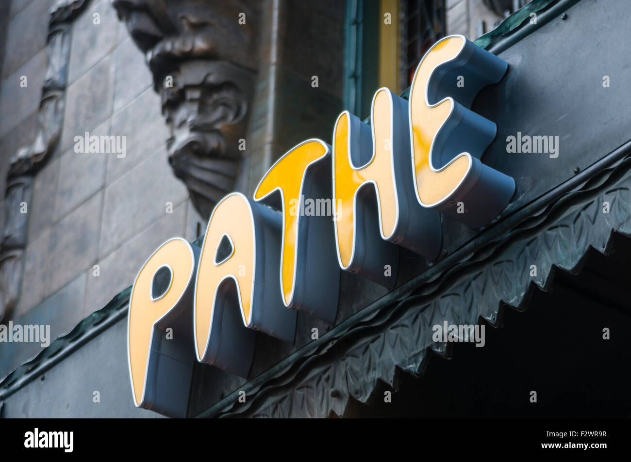 Sign at the Pathe theater cinema, Amsterdam - Stock Image
