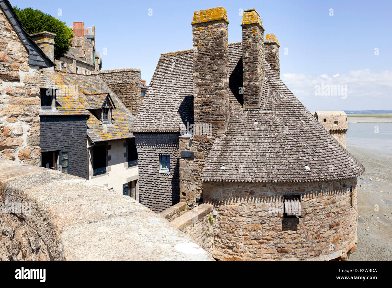 The ramparts and one of the turrets at Mont Saint Michel, Normandy, France - Mont St Michel - Stock Image