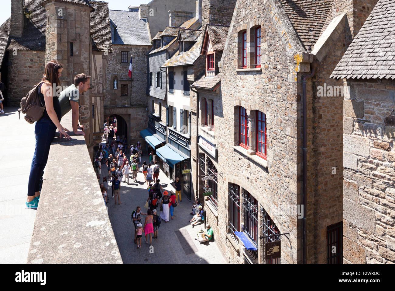 Old buildings in Grande Rue, Mont Saint Michel, Normandy, France - Mont St Michel - Stock Image