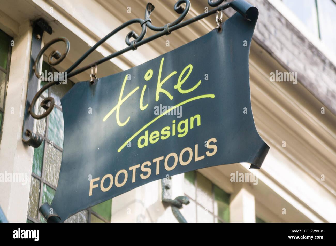 Sign for Tike Design, maker of designer footstools. - Stock Image