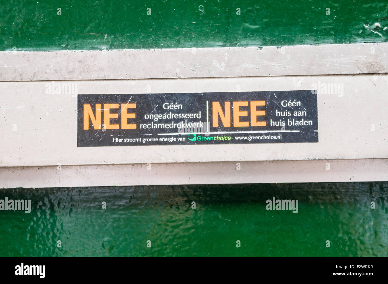 Sign on a letterbox in Amsterdam opting out of junk mail. - Stock Image