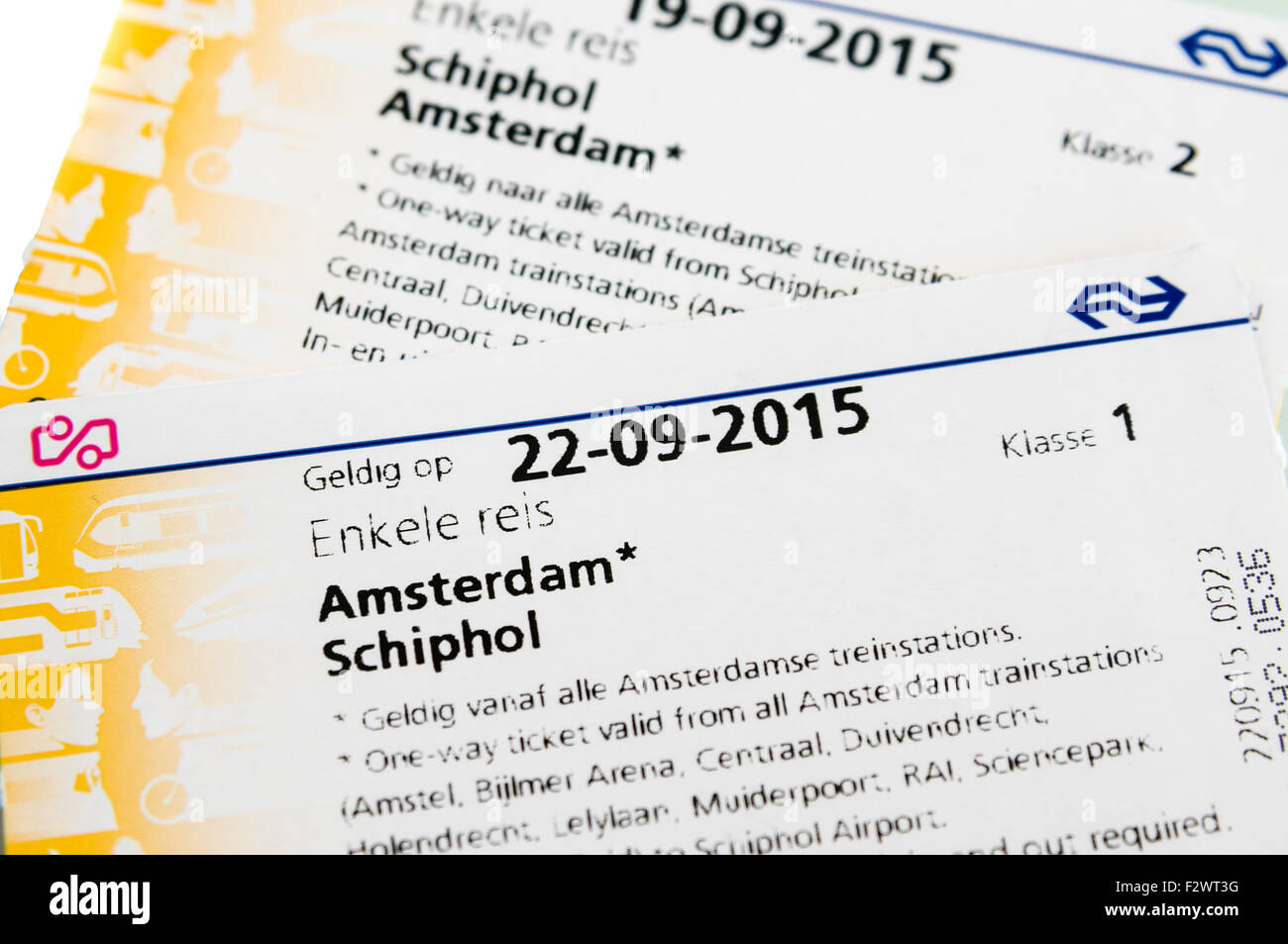 Return tickets for Amsterdam to Schiphol Airport on the Nederlandse Spoorwegen (NS) train. - Stock Image