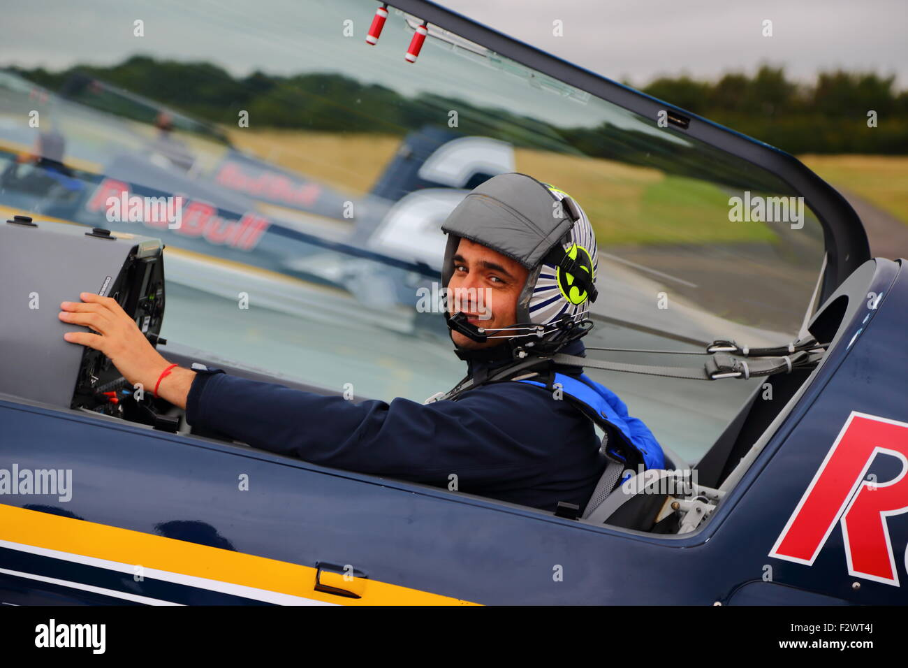 Cristian Bolton prepares for the Ascot Red Bull Air Race 2015 at Wycombe Airpark - Stock Image