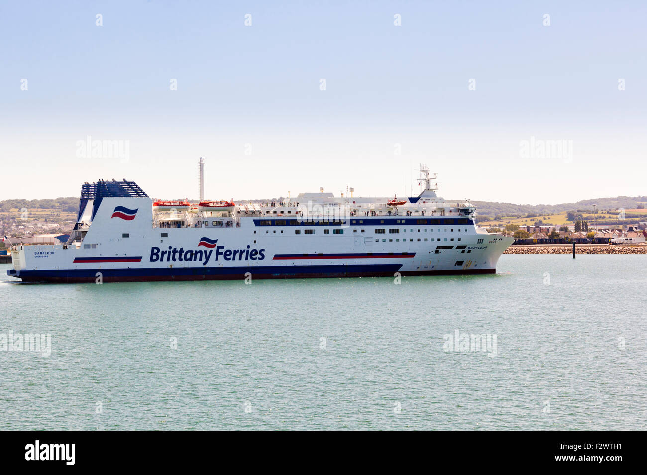 A Brittany Ferries cross channel ferry entering port at Cherbourg, Normandy, France - Stock Image