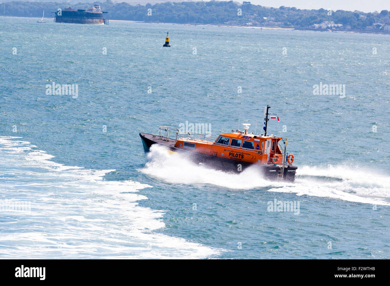 A Southampton pilot's launch in The Solent off Portsmouth, Hampshire UK - Stock Image