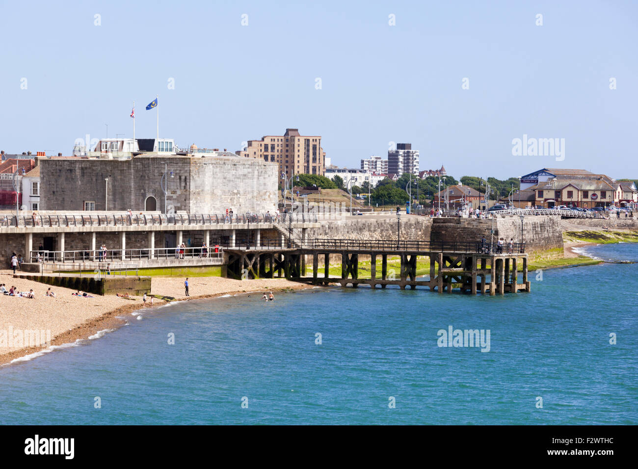 The Square Tower at Southsea, Hampshire UK - Built in 1494 as part of the defences for Portsmouth - Stock Image