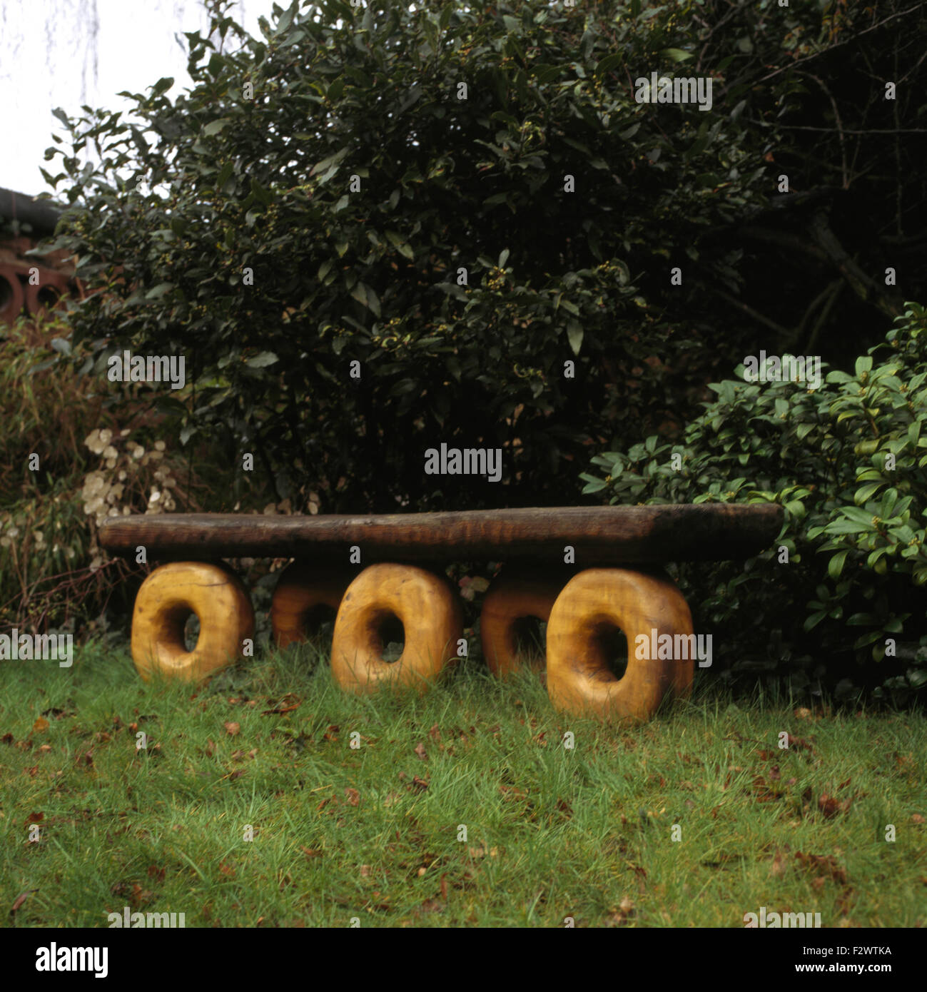 Hand crafted novelty wooden bench against shrubs in country garden - Stock Image