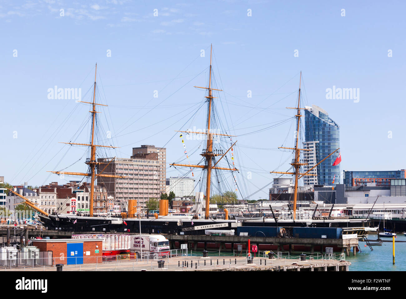 HMS Warrior (1860)  Britain's first iron-hulled, armoured warship now in Portsmouth Historic Dockyard, Portsmouth, Stock Photo