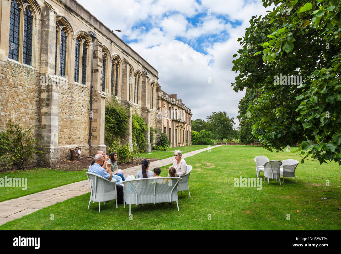 The rear of Eltham Palace with the Great Hall to the left, Eltham, London, England, UK - Stock Image