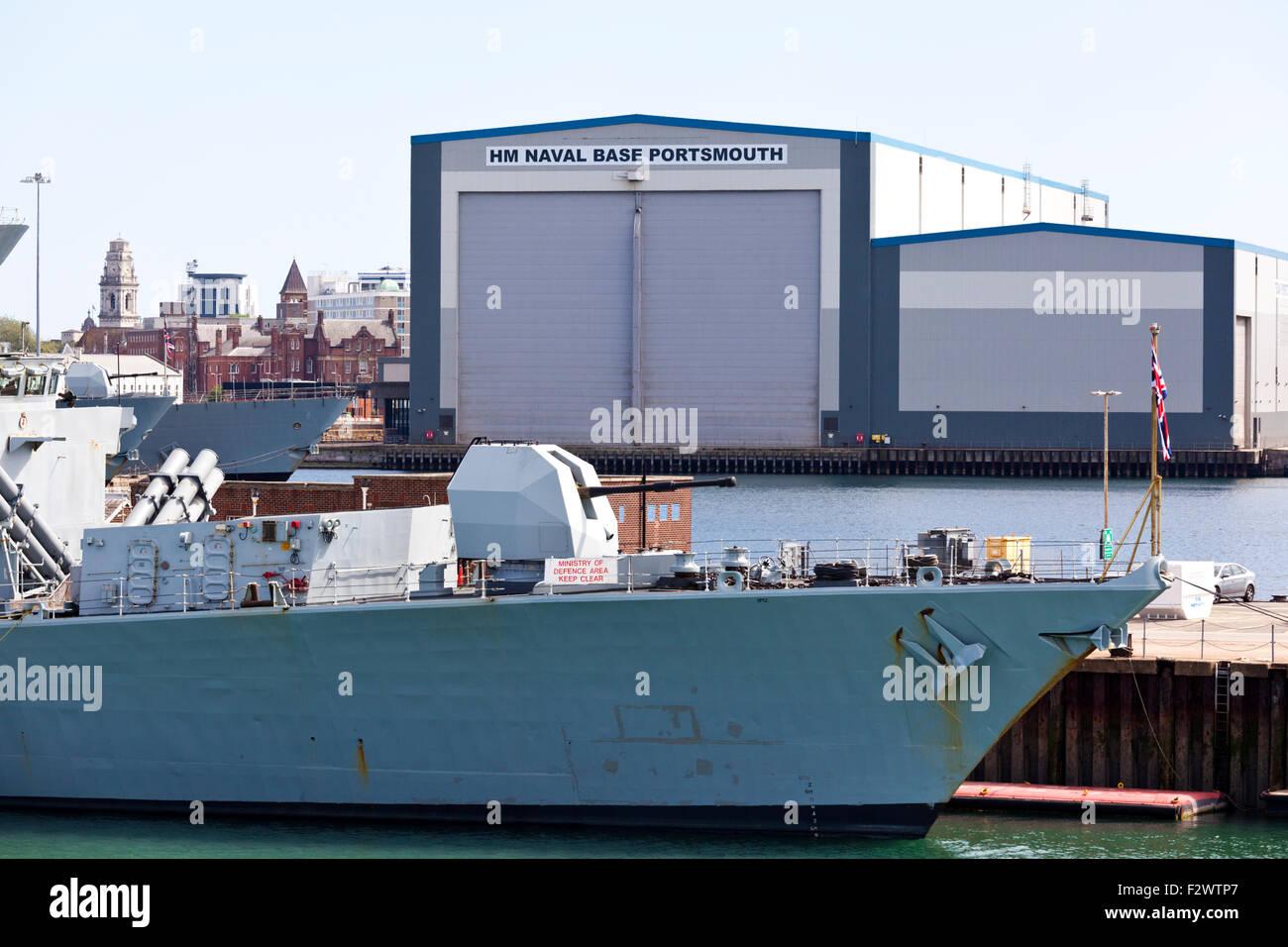 HMS Iron Duke (F234) a Type 23 frigate at Portsmouth Naval Base. Hampshire UK - Stock Image