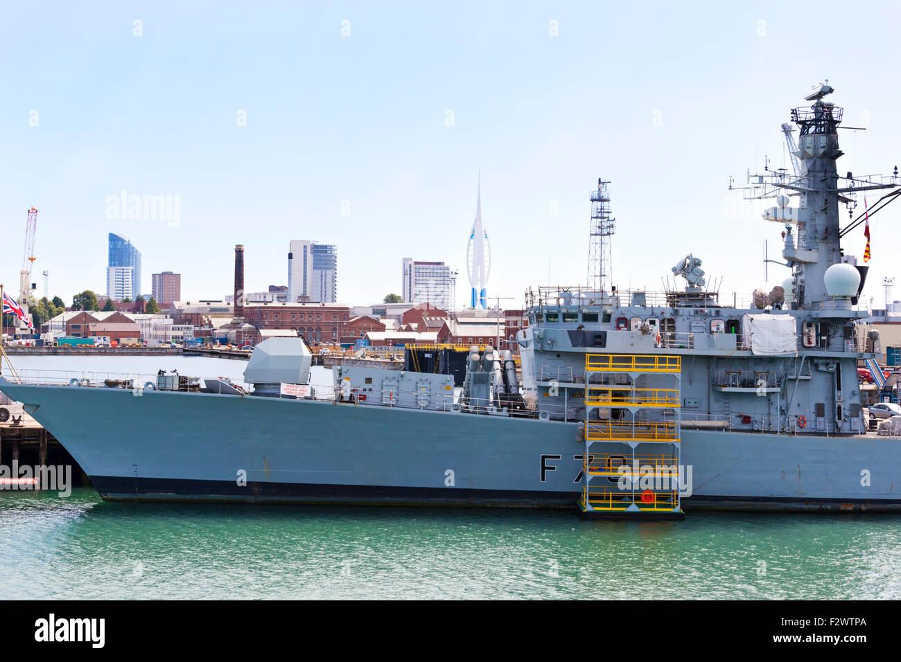 HMS Kent a Type 23 Duke class frigate of the British Royal Navy at Portsmouth Naval Base. Hampshire UK - Stock Image