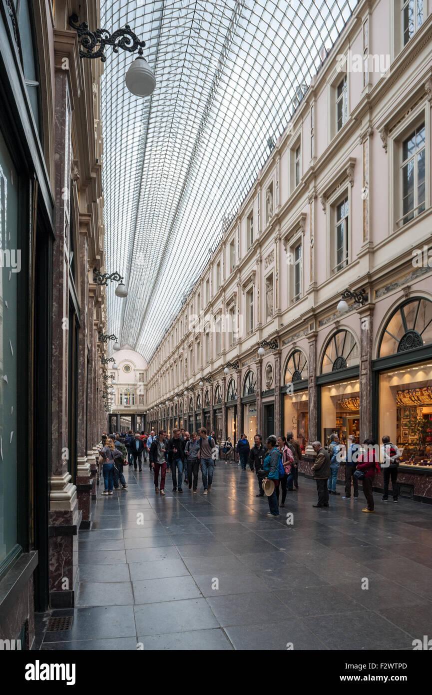 Belgium, Brussels, Galeries Royales Saint-Hubert - Stock Image