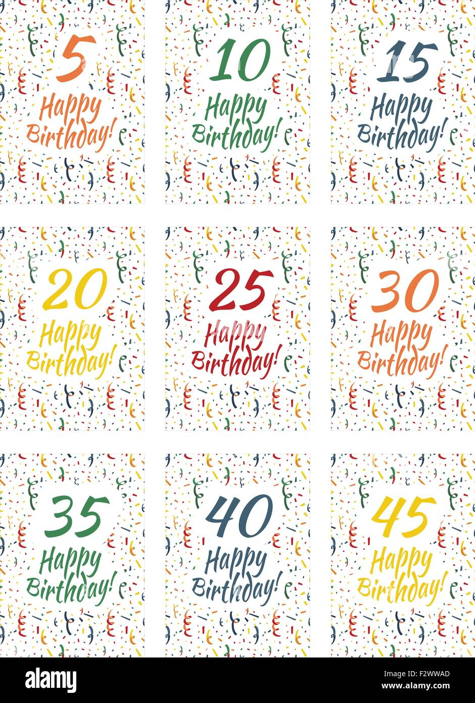 Set of happy birthday card covers for anniversary 5,10,15,20,25,30,35,40,45 years - Stock Vector