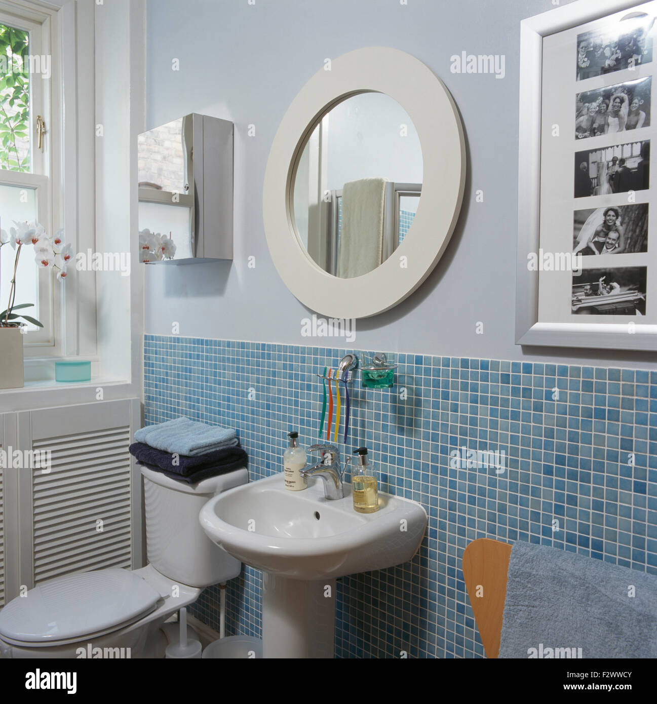 Circular white mirror above basin in modern bathroom with light blue ...