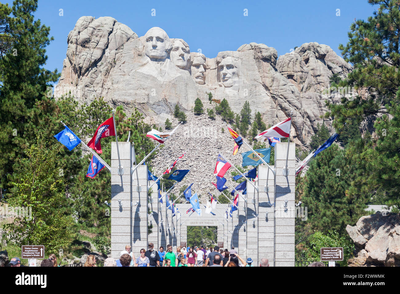 A view of visitors, tourists, families seeing the Mount Rushmore National Memorial, South Dakota. - Stock Image