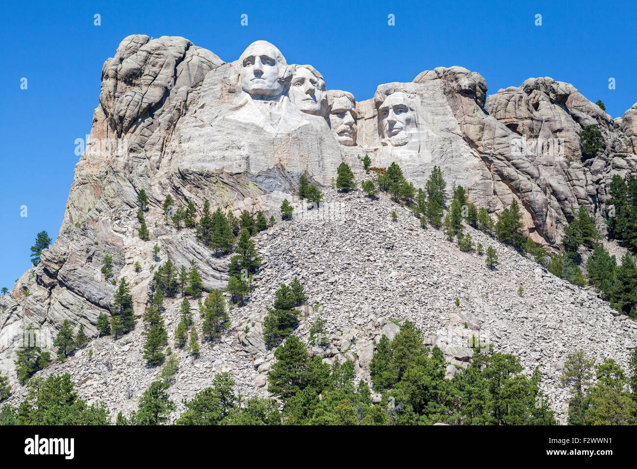 A view of Mount Rushmore National Memorial, South Dakota. Stock Photo