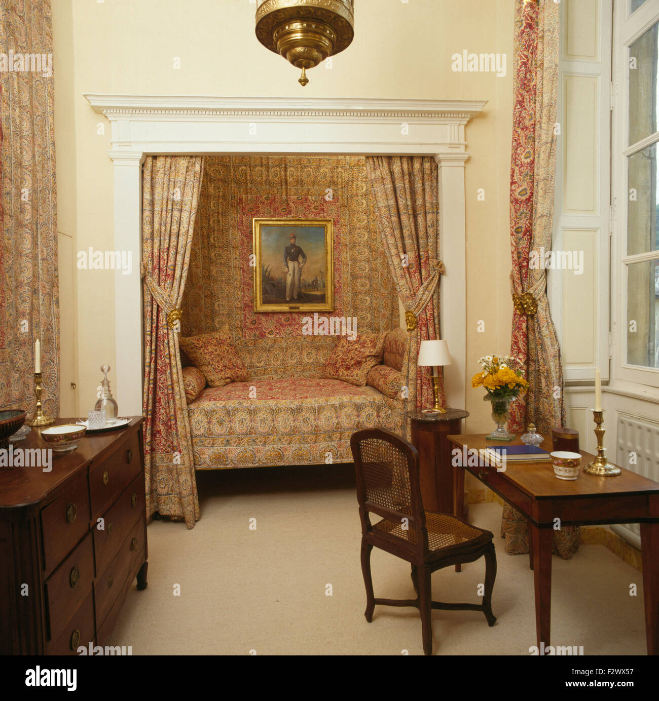 Patterned drapes on alcove bed in eighties French country bedroom with antique  furniture - Patterned Drapes On Alcove Bed In Eighties French Country Bedroom