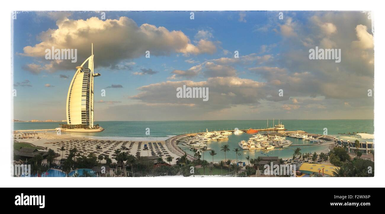 Jumeirah Beach, Burj Al Arab Hotel, Dubai, United Arab Emirates, Middle East - Stock Image