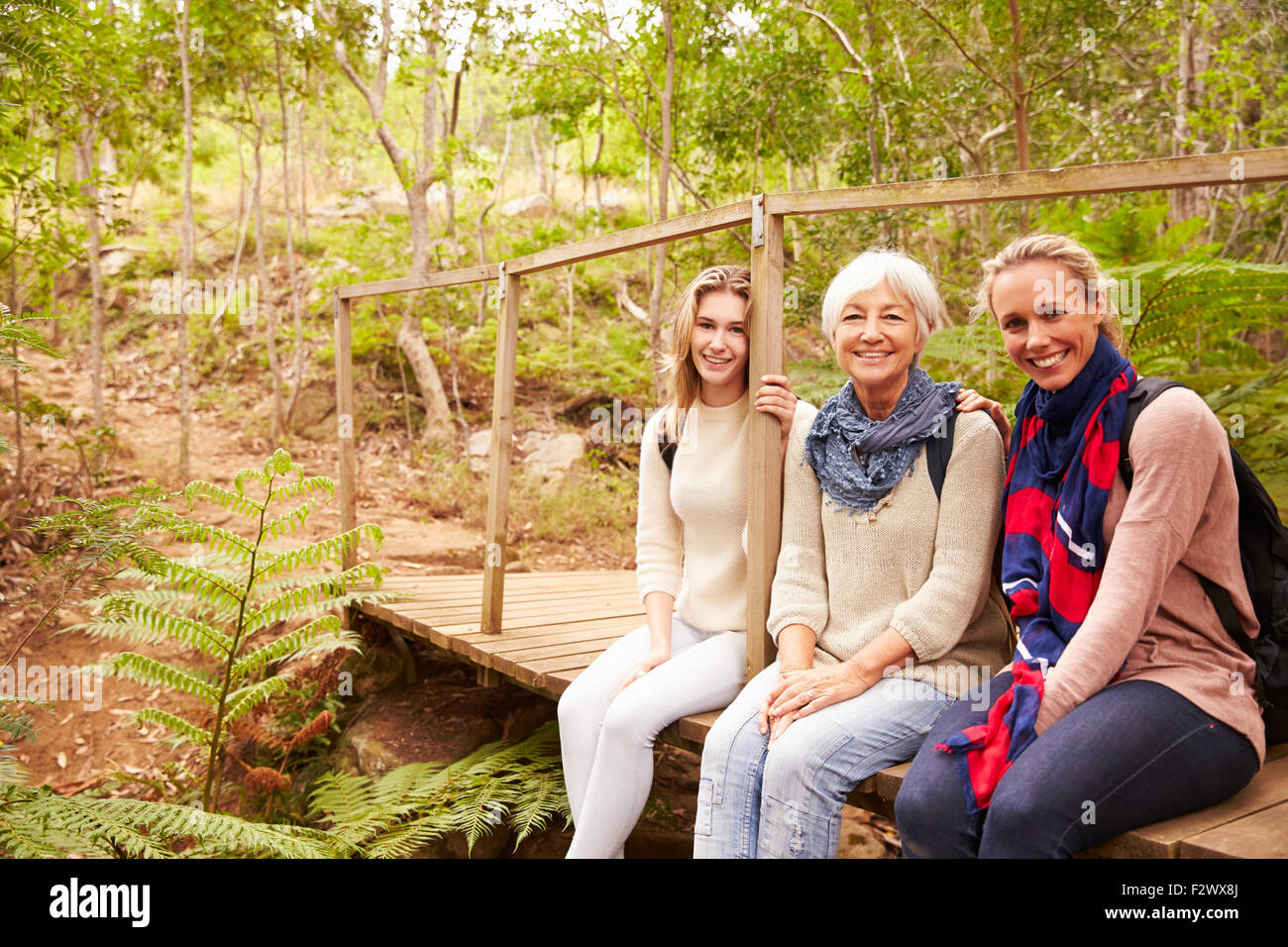 Three generations of women sitting in a forest, portrait - Stock Image