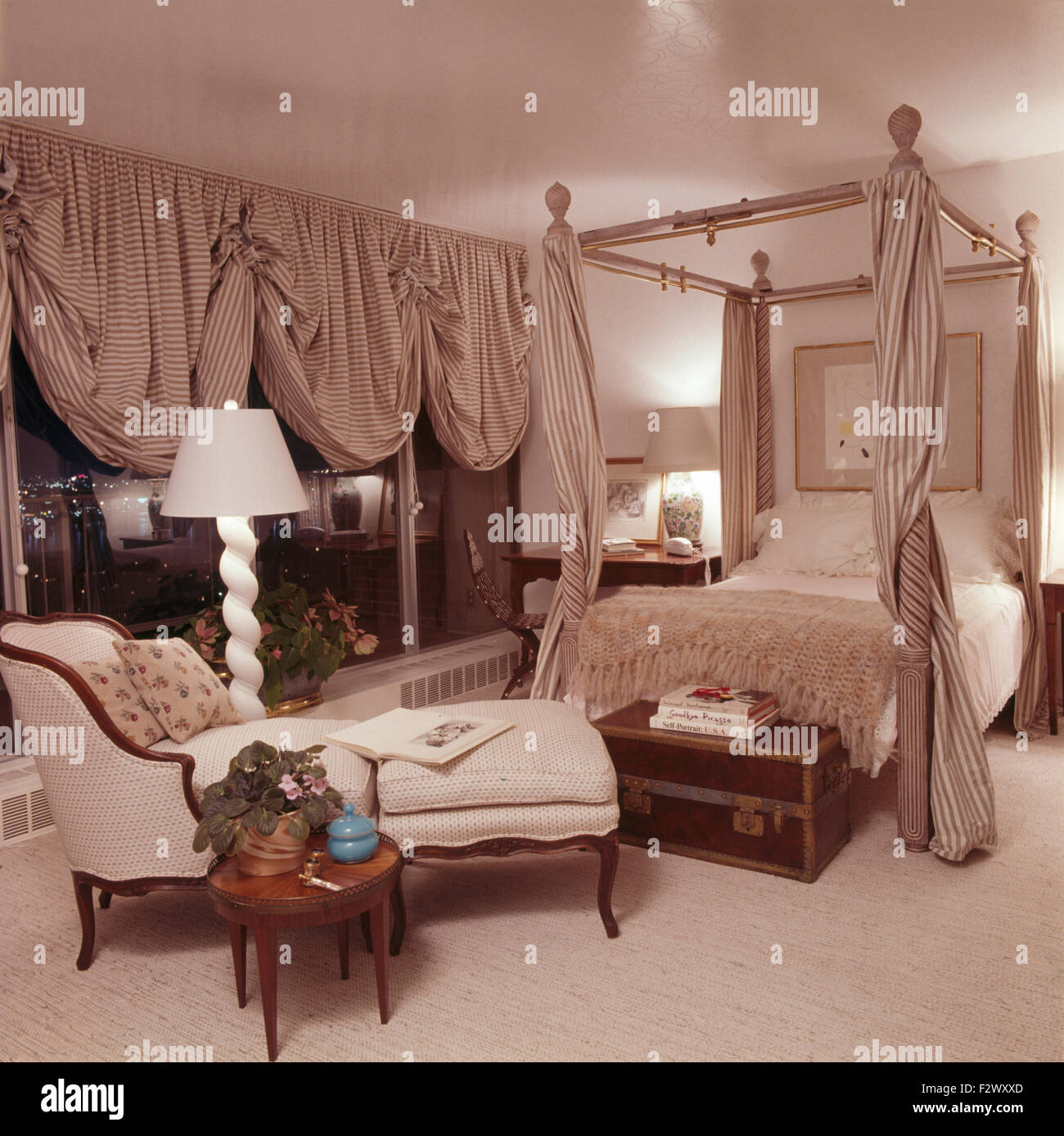 Striped Festoon Blinds On Windows In Opulent Eighties Bedroom With Matching  Striped Drapes On Four Poster
