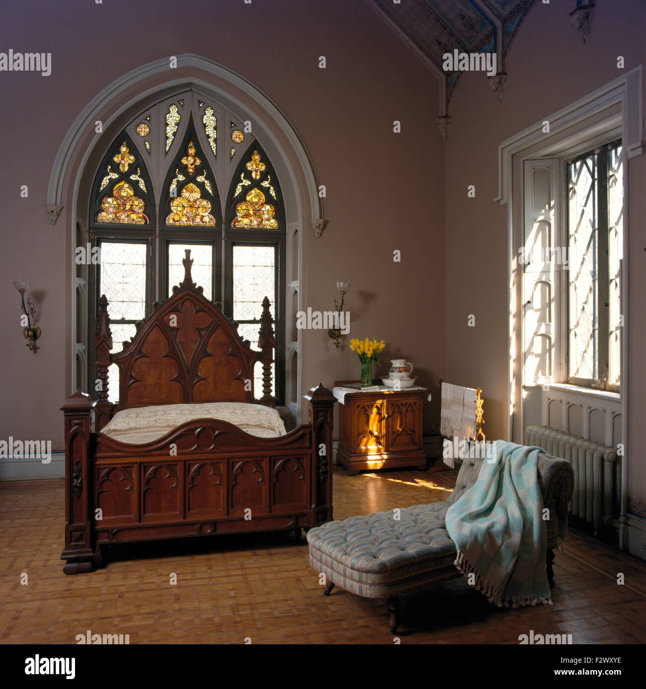 Genial Stained Glass Window Above Gothic Style Bed In Eighties Bedroom In  Converted Church