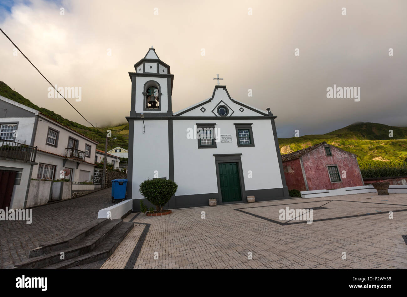 Lajedo church in Flores Island,  Azores Stock Photo