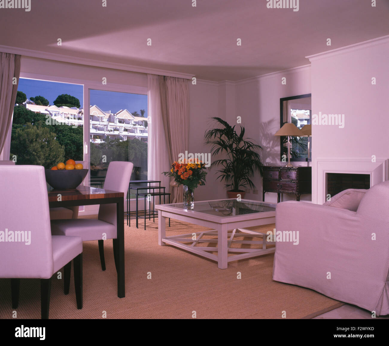 Sisal Carpet In Living And Dining Room Spanish Apartment With Glass Doors To The Balcony