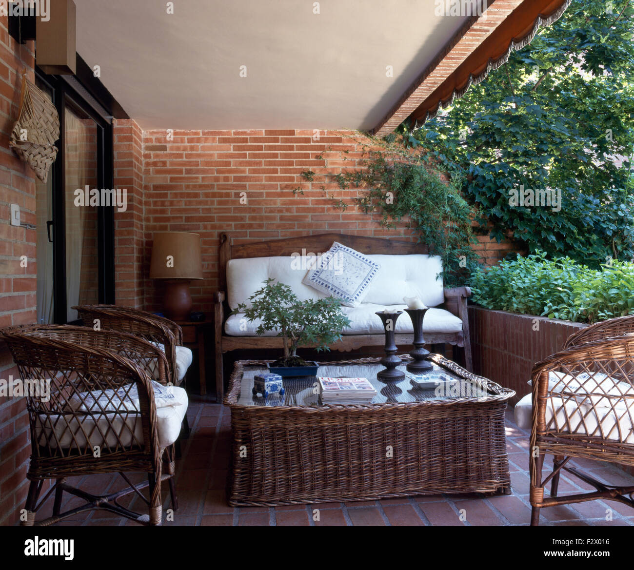 Wicker Chairs And Coffee Table On Veranda Of Spanish Villa With White Stock Photo Alamy