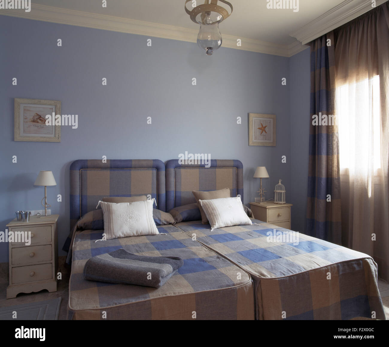 Image of: Blue Beige Checked Bedspreads And Headboards On Twin Beds In Pale Stock Photo Alamy