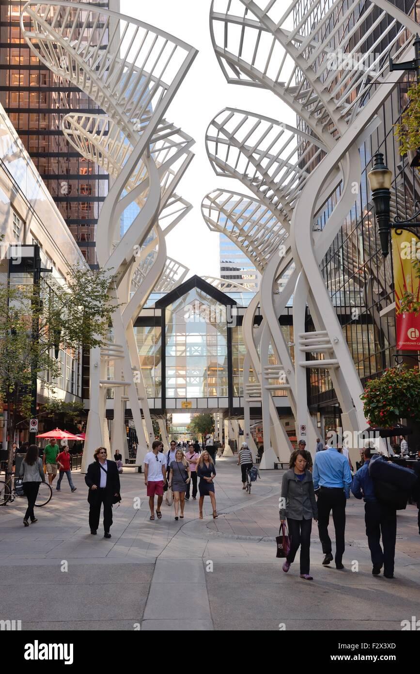 Pedestrian precinct at the Core shopping centre, 8th Ave SW, Calgary, Alberta, Canada. - Stock Image